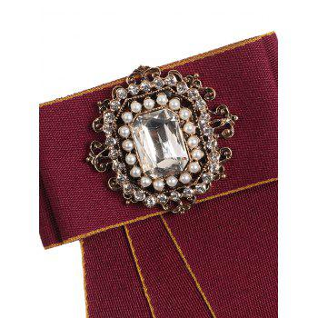 Faux Pearl Rhinestone Rectangle Tie Brooch - RED