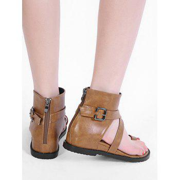 Ankle Strap Flat Heel Thong Sandals - BROWN 38