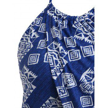 Plus Size Geometric Halter Swim Top - BLUE 1X
