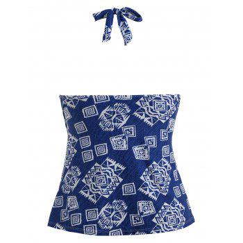 Plus Size Geometric Halter Swim Top - BLUE 3X