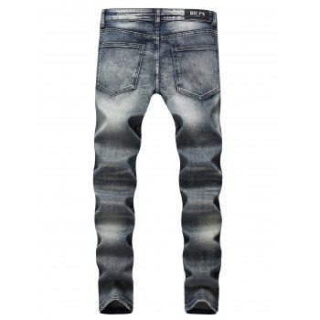 Zipper Fly Netty Pattern Retro Jeans - LIGHT SLATE GRAY 38