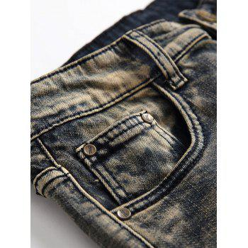 Ripped Straight Leg Distressed Jeans - GRAY CLOUD 30