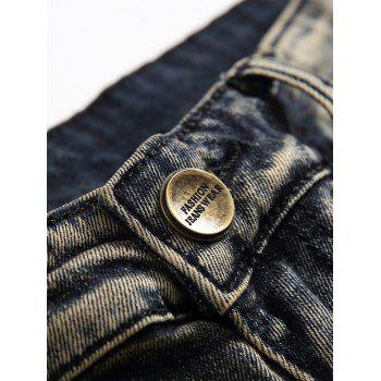 Ripped Straight Leg Distressed Jeans - GRAY CLOUD 32