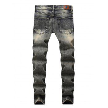 Ripped Straight Leg Distressed Jeans - GRAY CLOUD 36