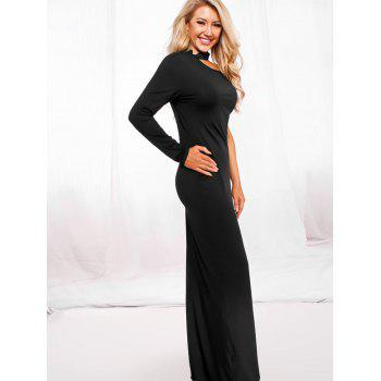 Halter One Shoulder Open Back Maxi Dress - BLACK M