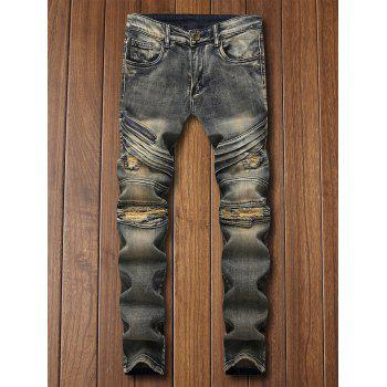 Ripped Straight Leg Distressed Jeans - GRAY CLOUD 38