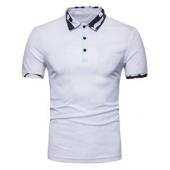 Camouflage Splicing Solid Color Polo Collar T shirt