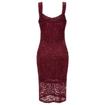 Sweetheart Neck Sleeveless Lace Bodycn Dress - RED WINE XL
