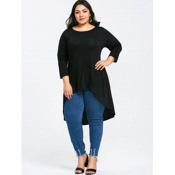 Round Neck High Low Plus Size Tee - BLACK 4XL