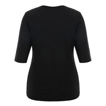 Plus Size Front Slit Cut Out T-shirt - BLACK 7XL