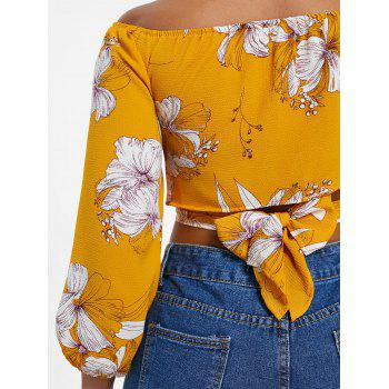 Crop Floral Print Wrap Blouse - BRIGHT YELLOW ONE SIZE