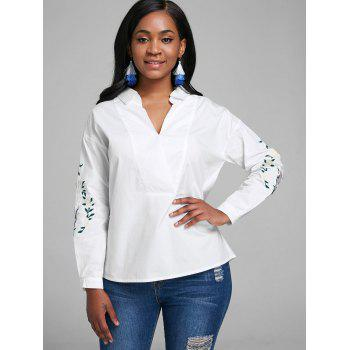 V Neck Embroidery Blouse - WHITE M