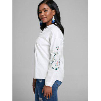 V Neck Embroidery Blouse - WHITE XL