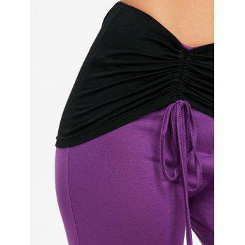 High Waist Color Block Ruched Bell Bottom Pants - PURPLE M