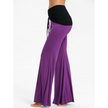 High Waist Color Block Ruched Bell Bottom Pants - PURPLE L