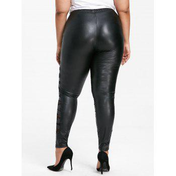 Plus Size High Rise Lace Panel PU Pants - BLACK 2XL