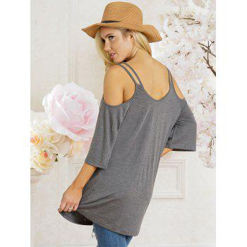 Open Shoulder Scoop Neck Tunic T-shirt - GRAY L