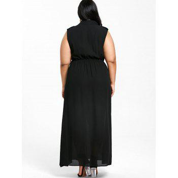 Plus Size Sleeveless Side Split Shirt Dress - BLACK 4XL