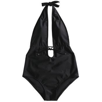Backless Self Drawstring Padded Swimwear - BLACK M