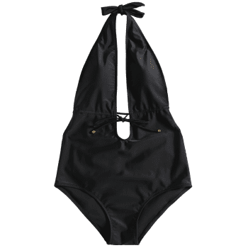 Backless Self Drawstring Padded Swimwear - BLACK L