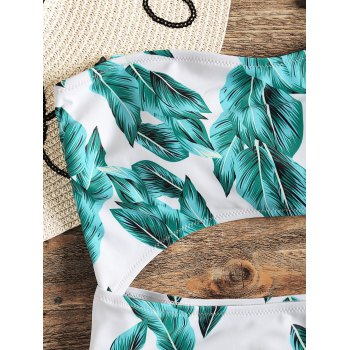 Cut Out Tropical Printed One Piece Swimsuit - LIGHT SEA GREEN M