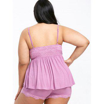 Plus Size Lace Trim Flowy Sleepwear Set - COTTON CANDY 5XL