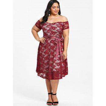 Plus Size Off The Shoulder Tea Length Dress - WINE RED 3XL