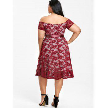 Plus Size Off The Shoulder Tea Length Dress - WINE RED XL