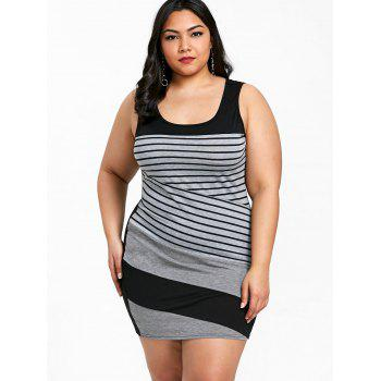Plus Size Striped Sleeveless Mini Fitted Dress - GRAY 5XL
