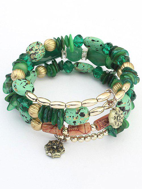 Bohemian Stones and Beads String Multilayer Bracelet - GREEN