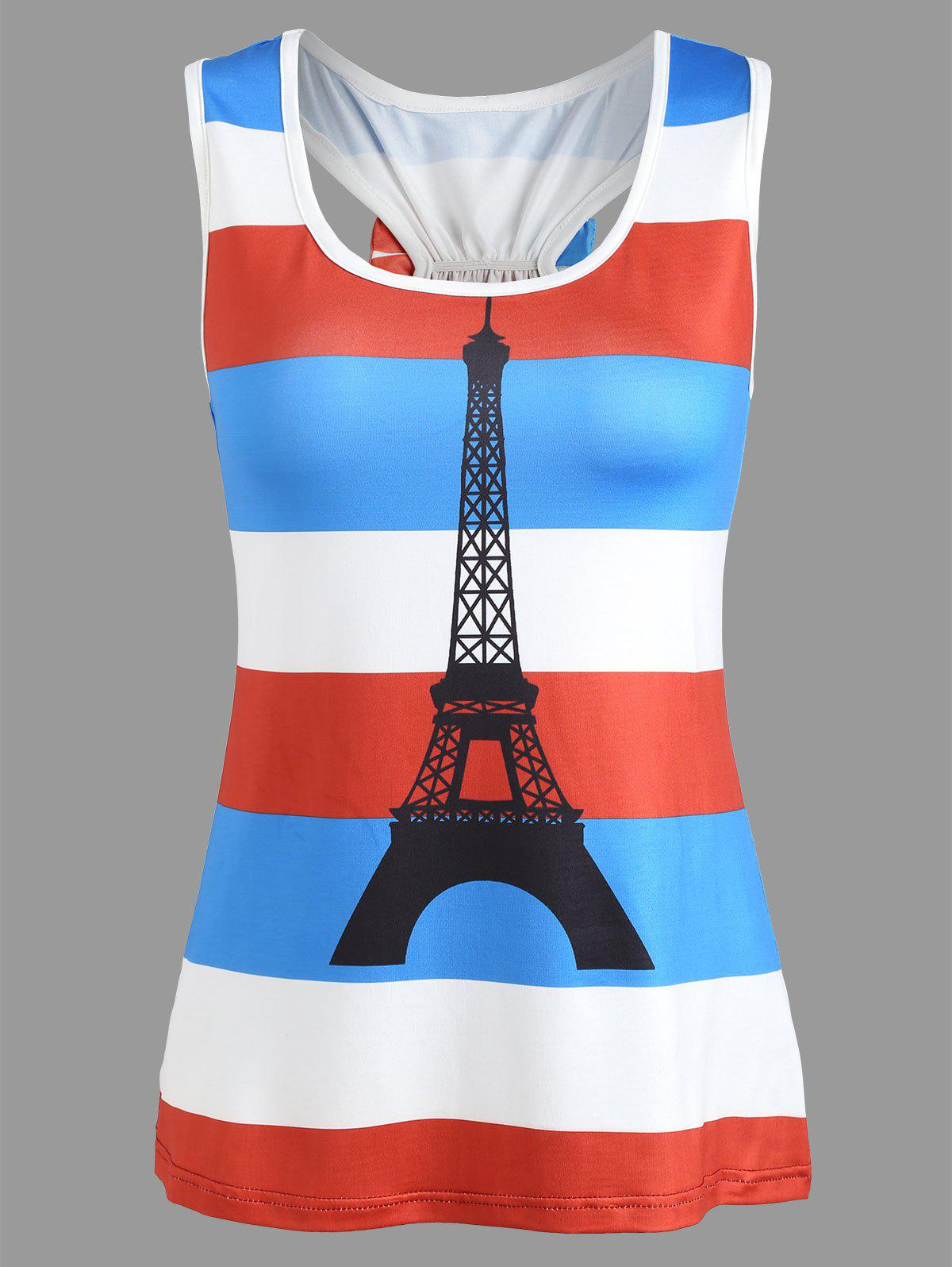 Patriotic France Flag Eiffel Tower Tank Top - RED M