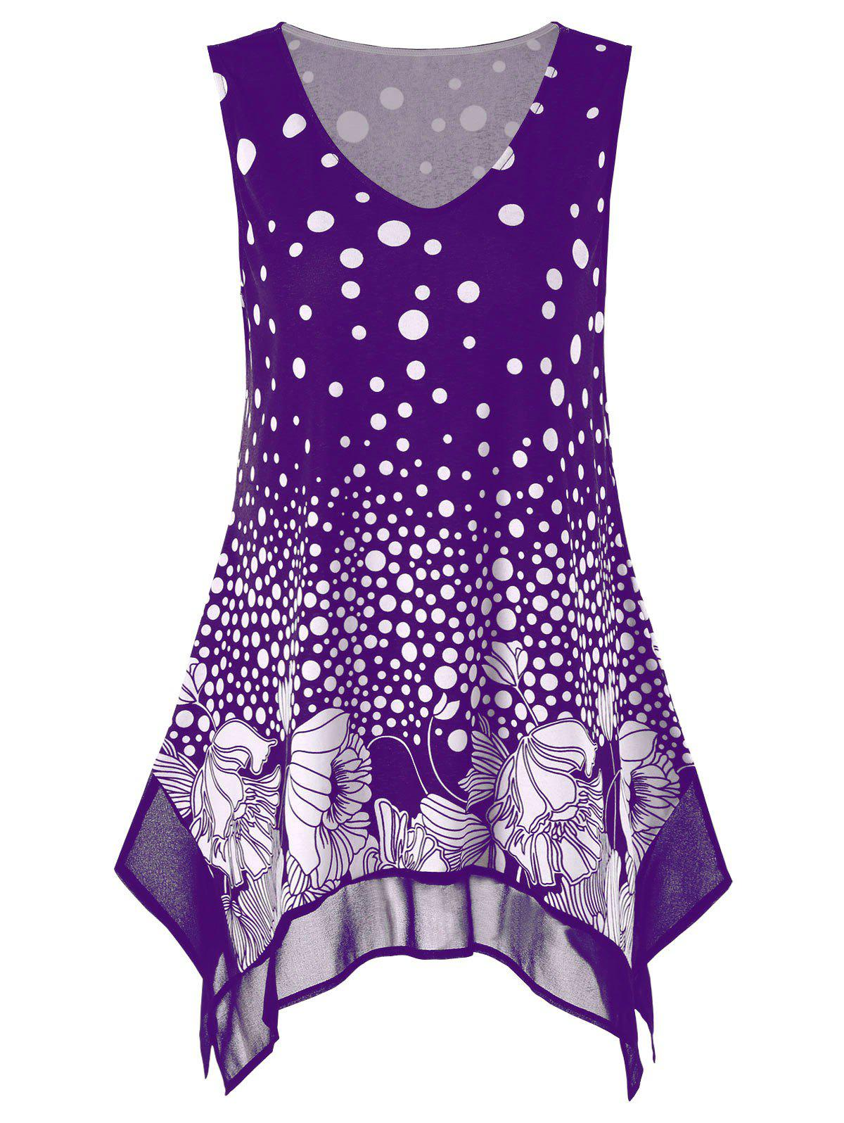 Plus Size Polka Dot Floral Tunic Tank Top, Purple