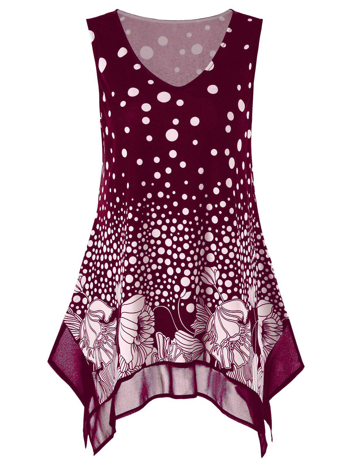 Plus Size Polka Dot Floral Tunic Tank Top, Wine red