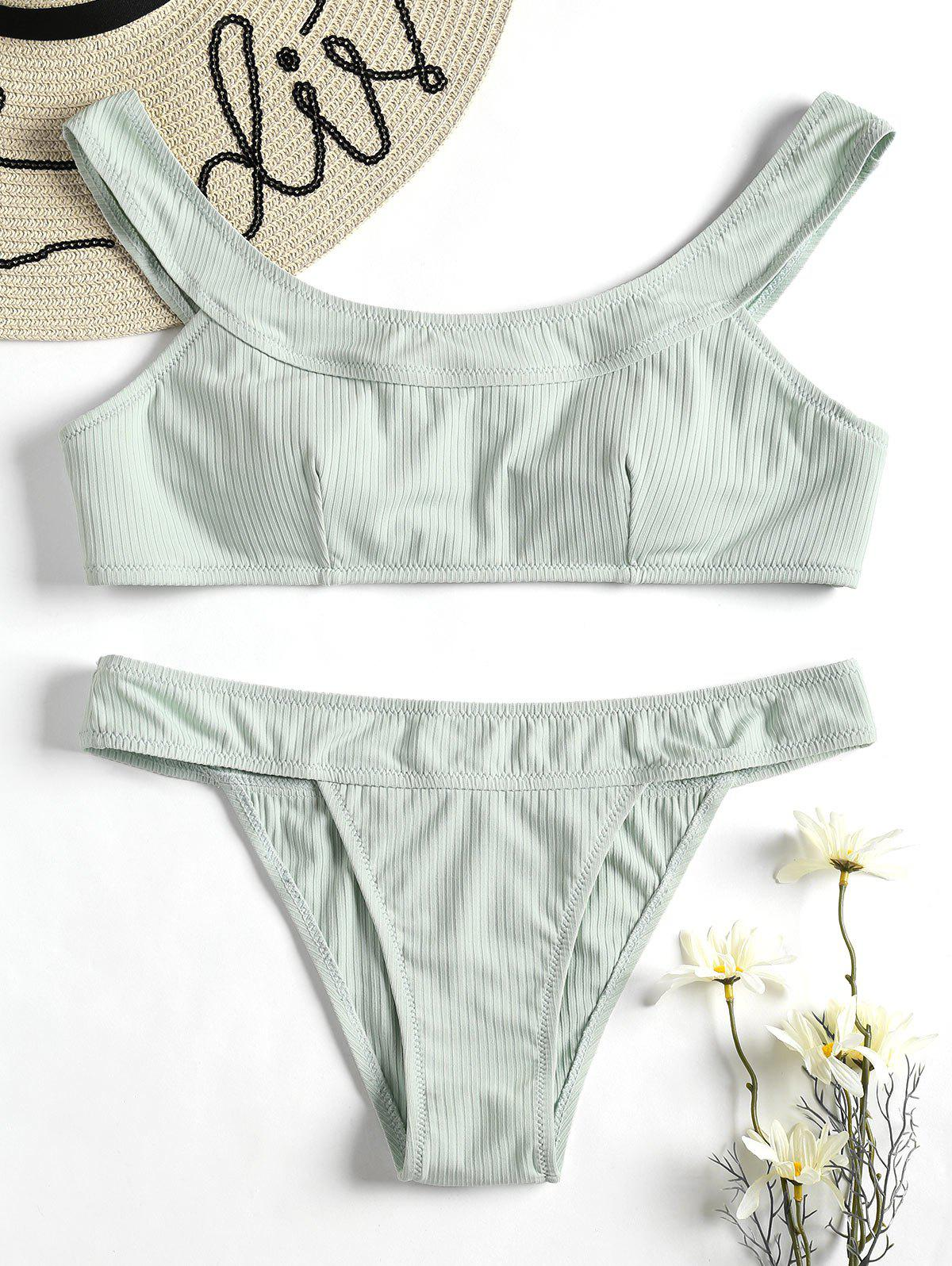 Ribbed Wireless Bikini Set - FROG GREEN M
