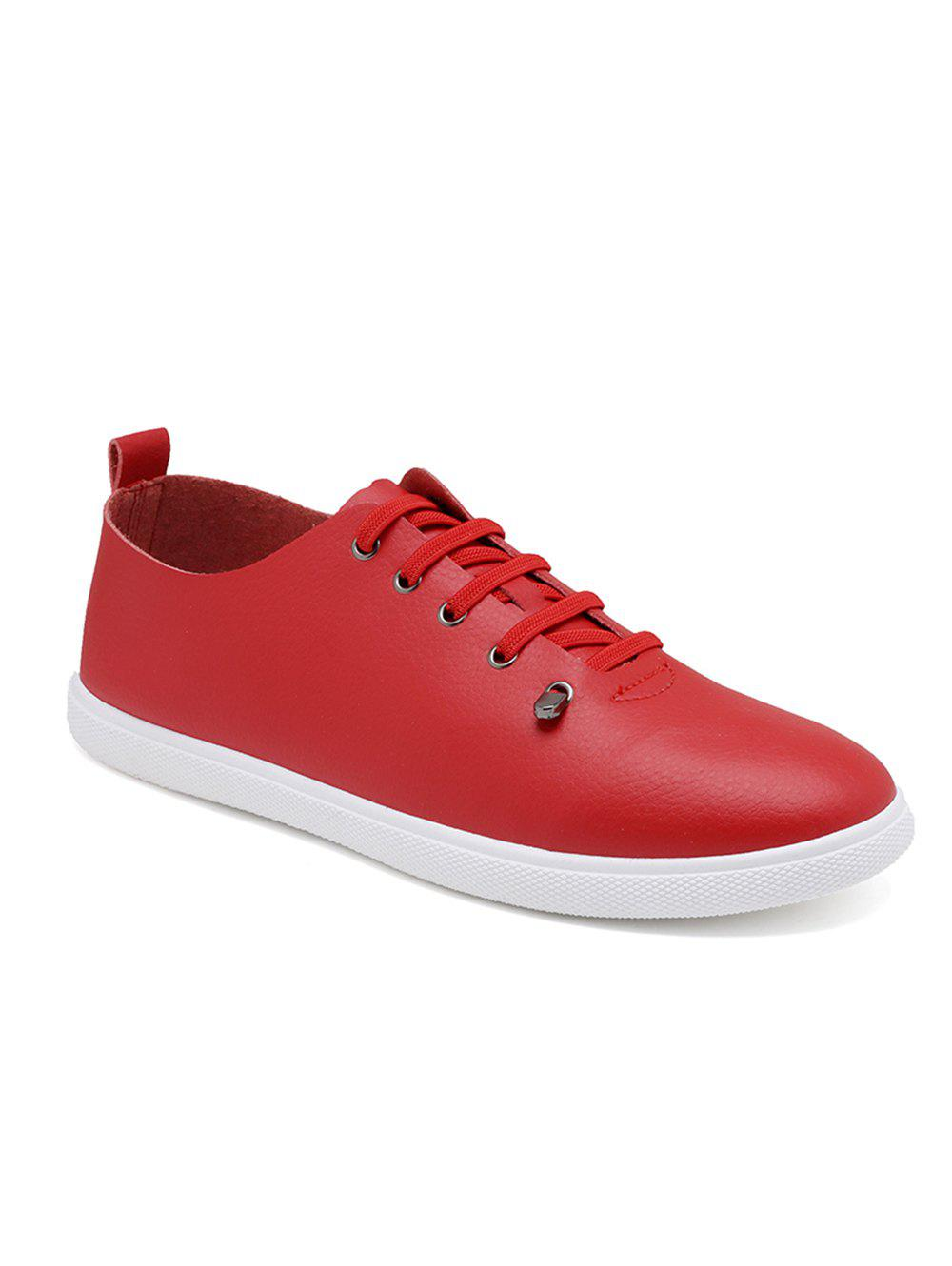 PU Leather Lace Up Leisure Flats - RED 43