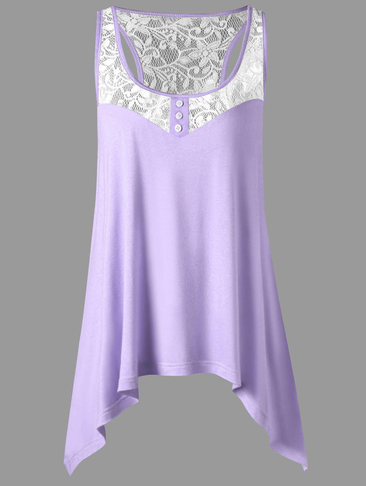 Lace Panel Plus Size Racerback Top - PINKISH PURPLE XL