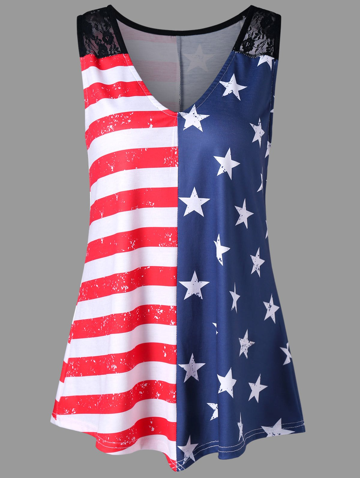 American Flag Print Lace Insert Swing Tank Top lace insert swing dress