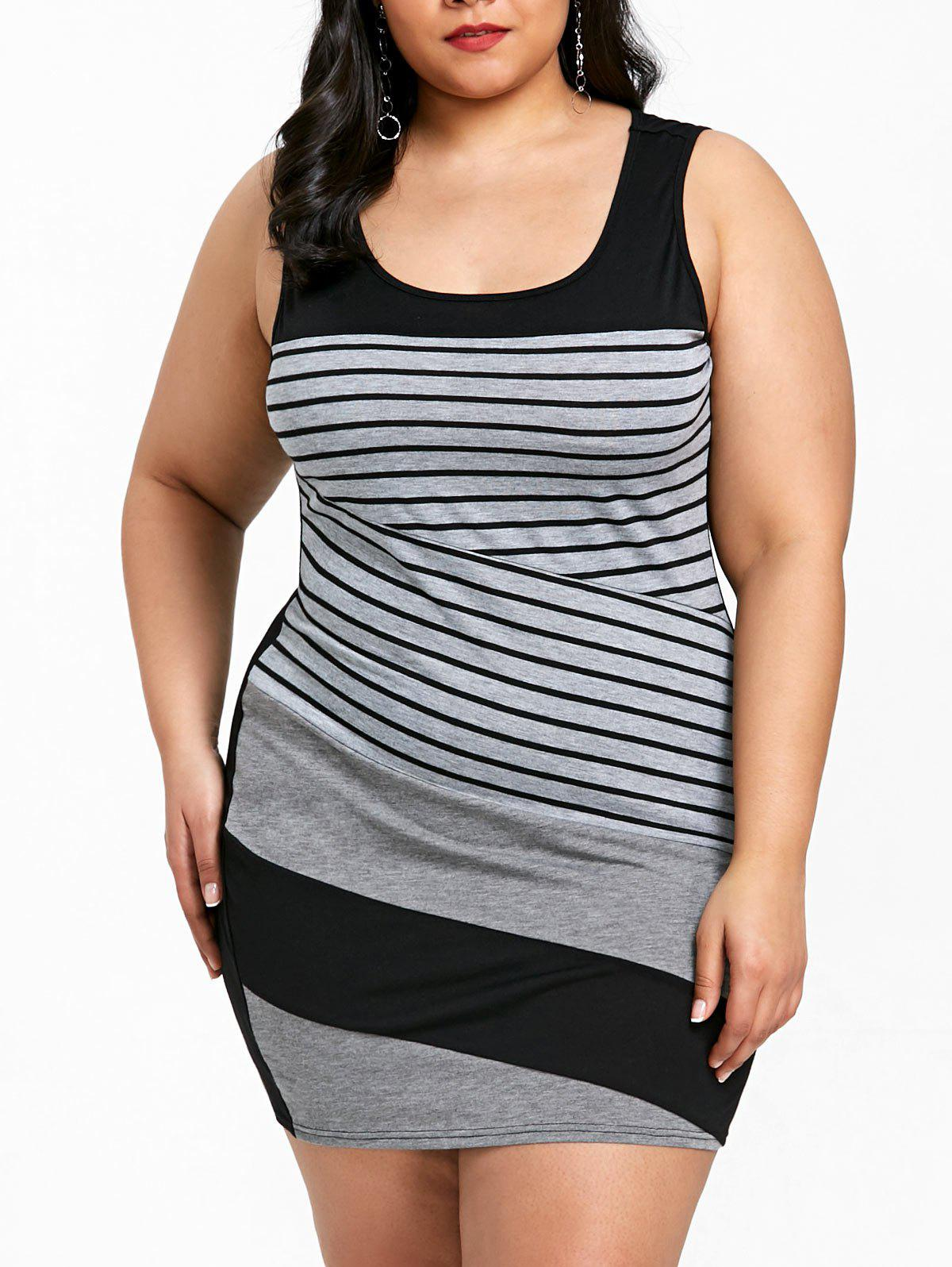Plus Size Striped Sleeveless Mini Fitted Dress - GRAY XL
