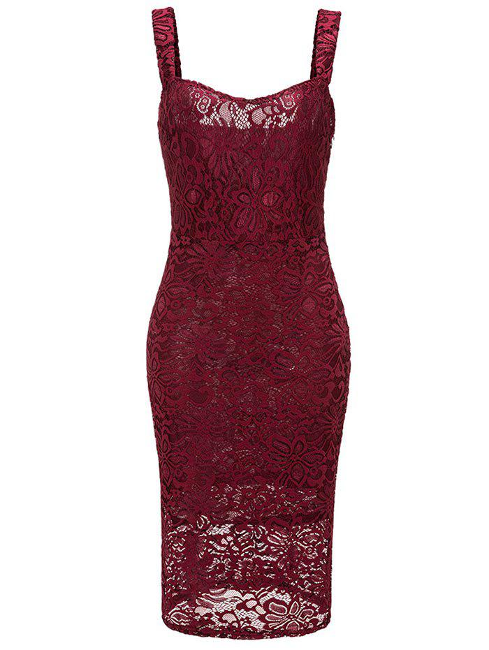 Sweetheart Neck Sleeveless Lace Bodycn Dress - RED WINE 2XL
