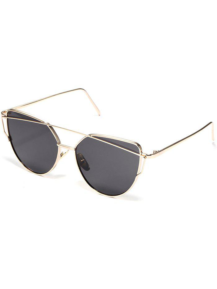 Anti UV Metal Frame Crossbar Flat Lens Sunglasses - BLACK