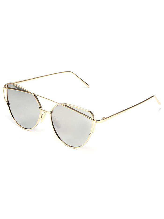 Anti UV Metal Frame Crossbar Flat Lens Sunglasses - GRAY CLOUD