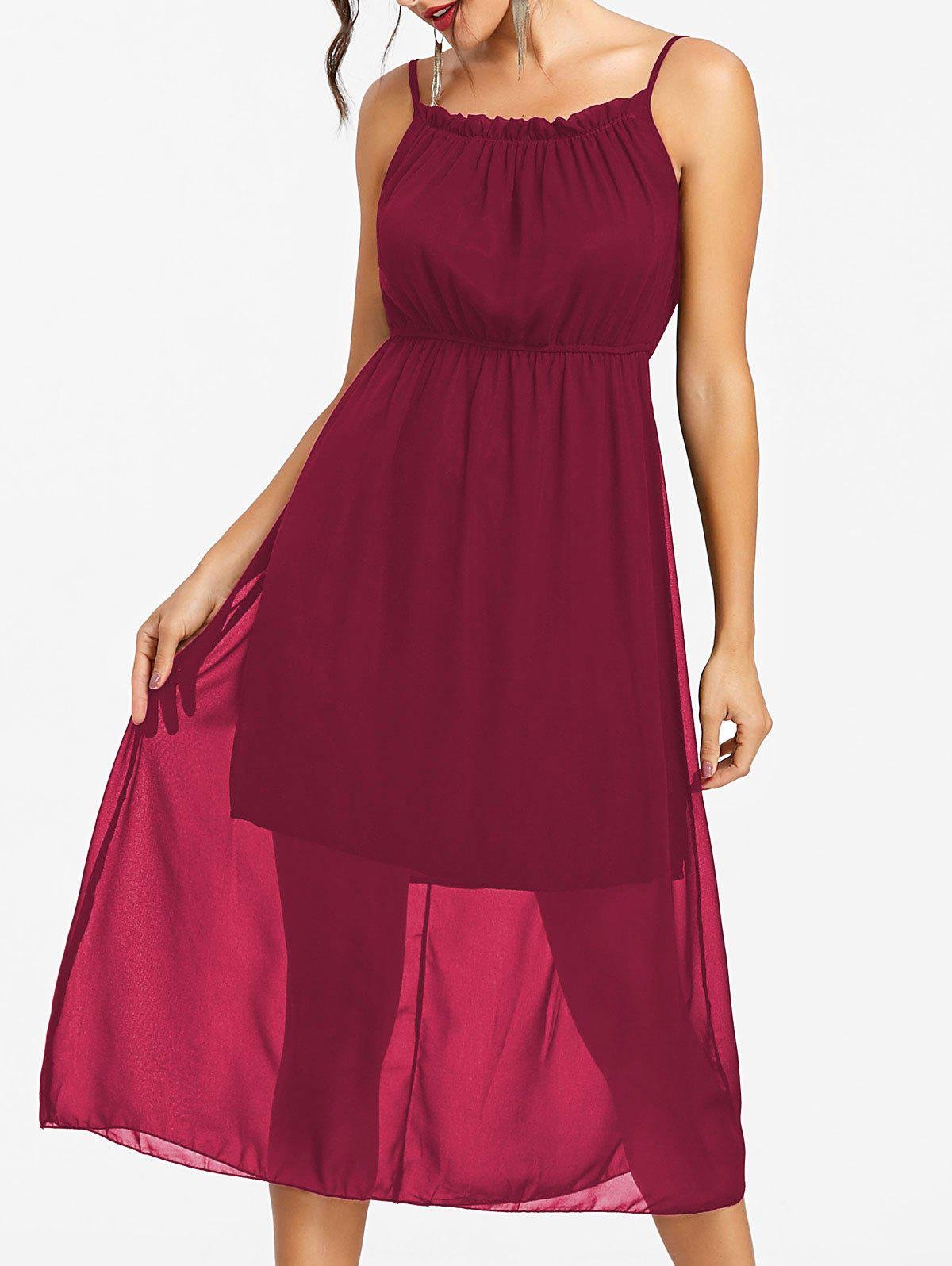 High Waisted Spaghetti Strap Chiffon Dress - RED WINE 2XL