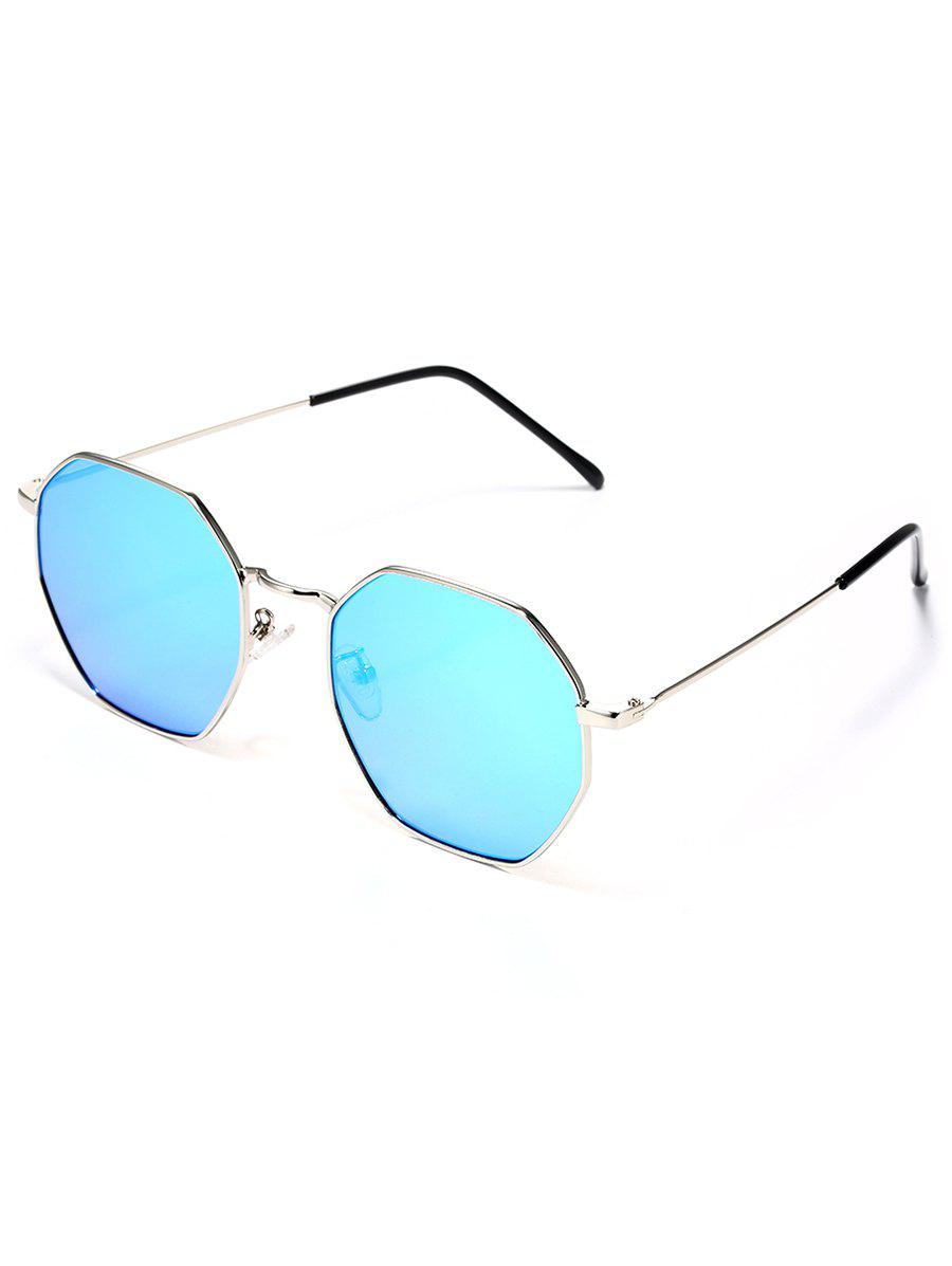 Metal Frame Rhombus Shape Sunglasses - DEEP SKY BLUE