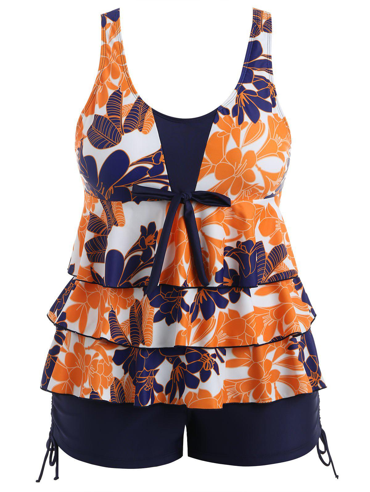 Plus Size Flower Ruffle Tankini Set - NAVY BLUE 5X