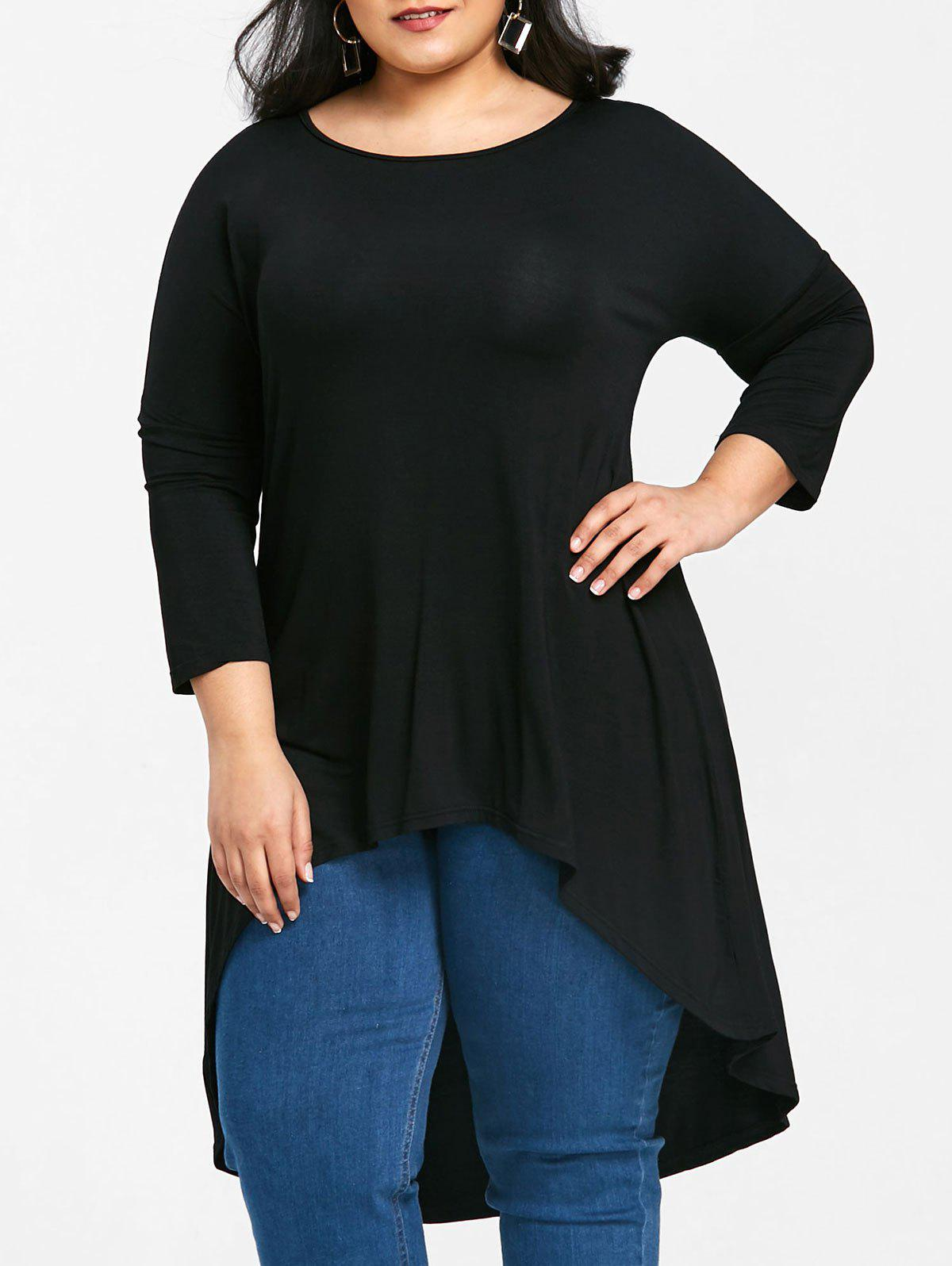 Round Neck High Low Plus Size Tee - BLACK 3XL