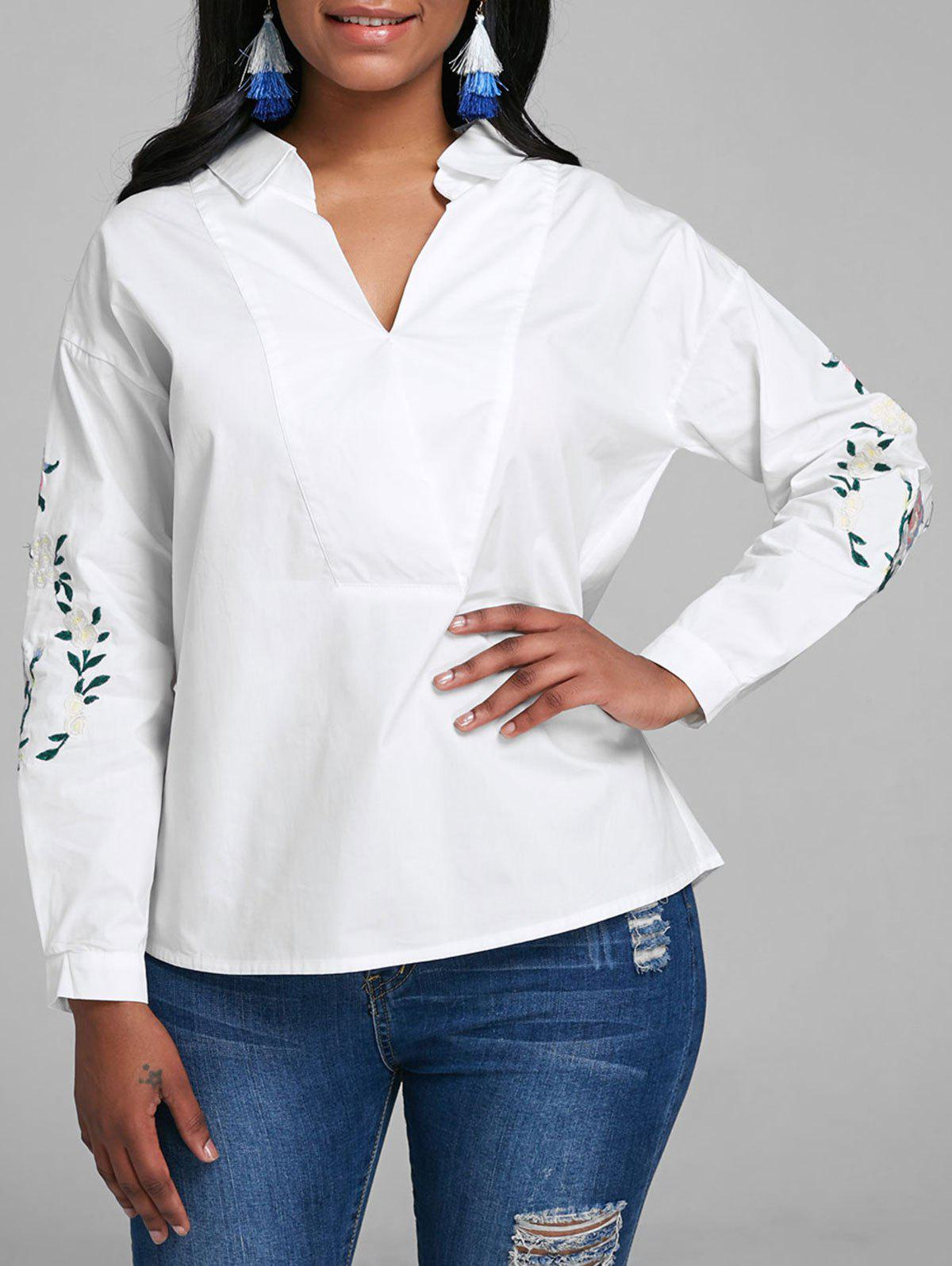 V Neck Embroidery Blouse - WHITE S