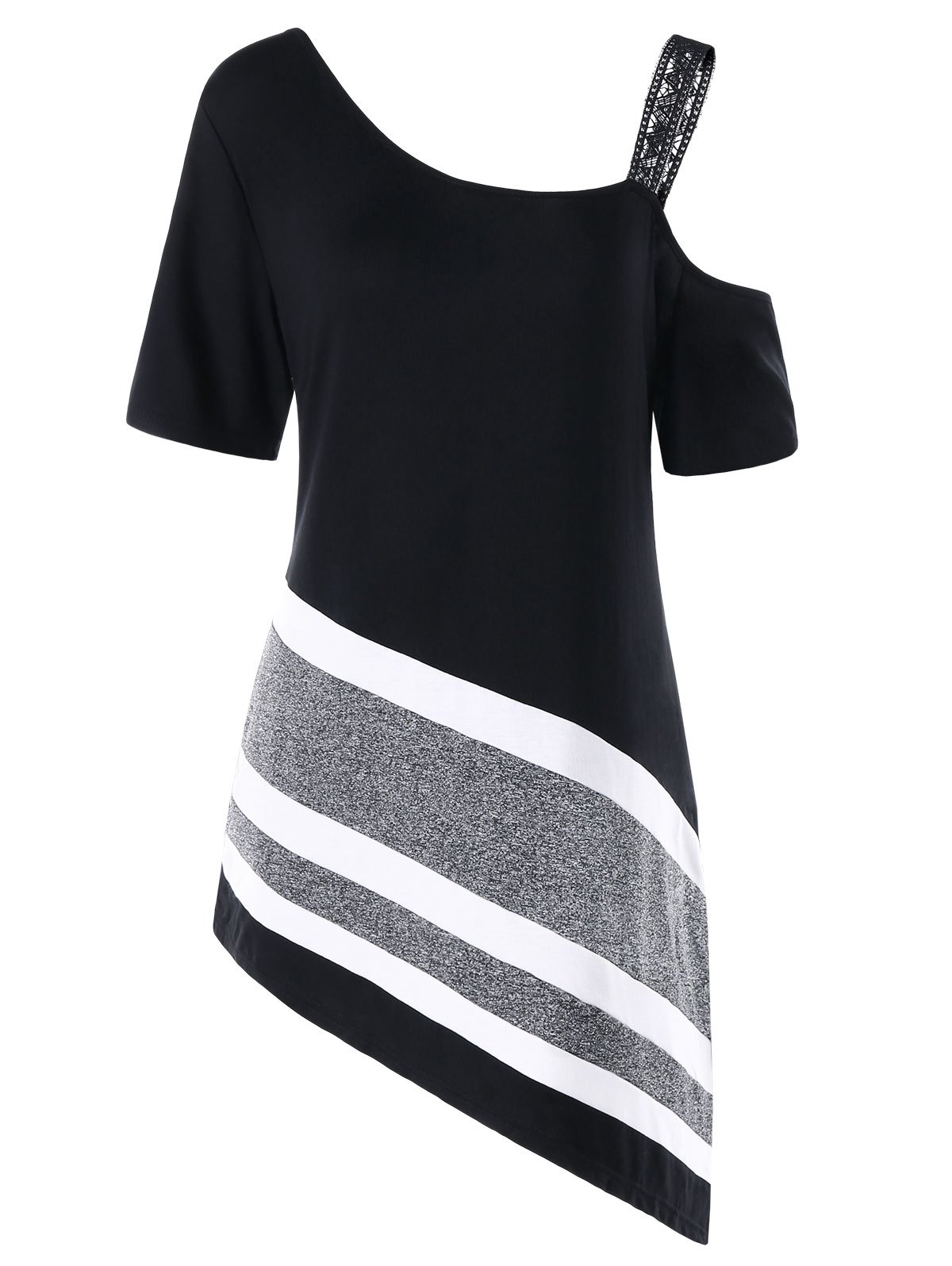 Plus Size Asymmetric Skew Collar Longline T-shirt skew collar longline striped tee