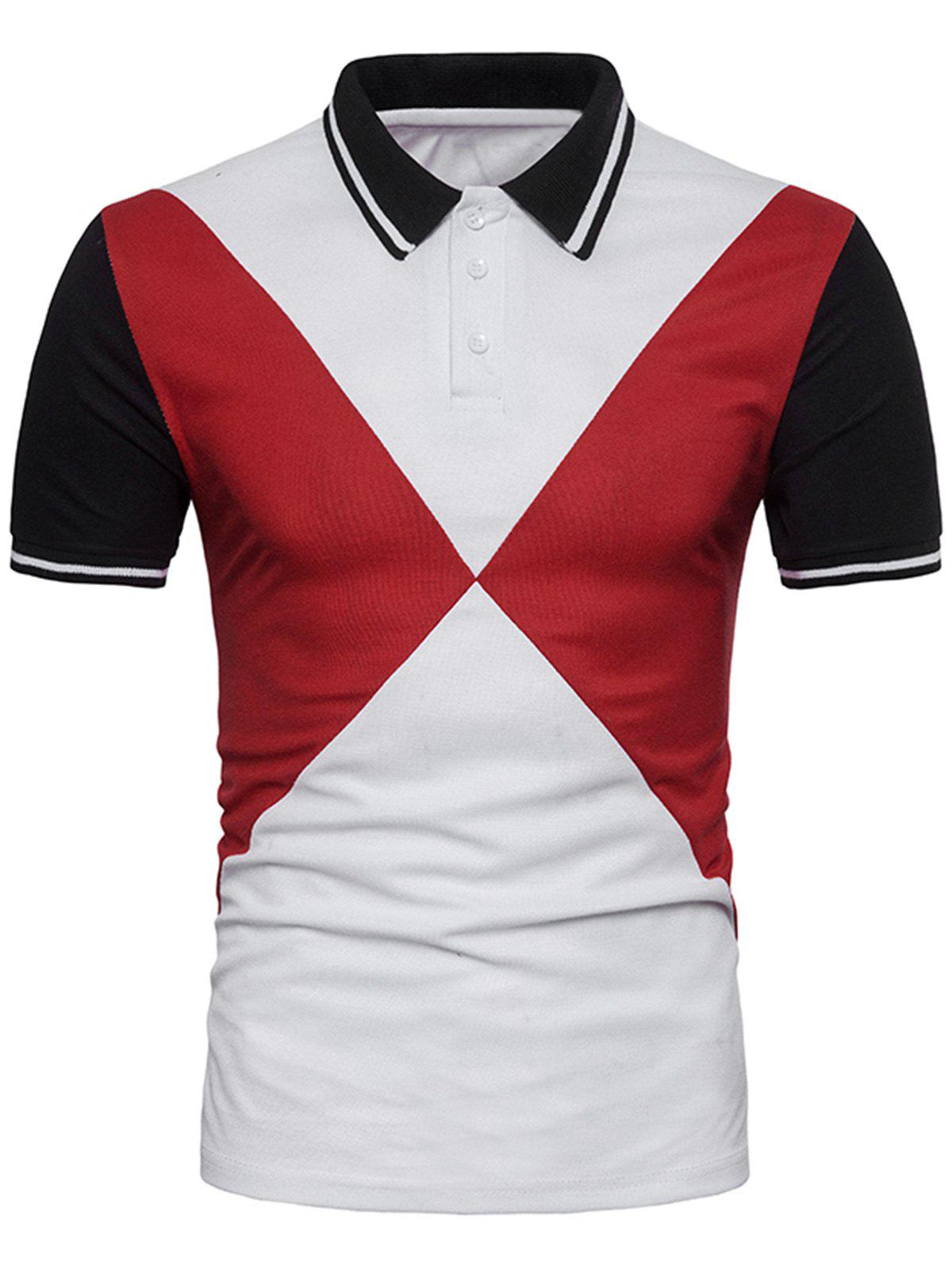 Color Block Triangle Print Short Sleeve Polo T-shirt
