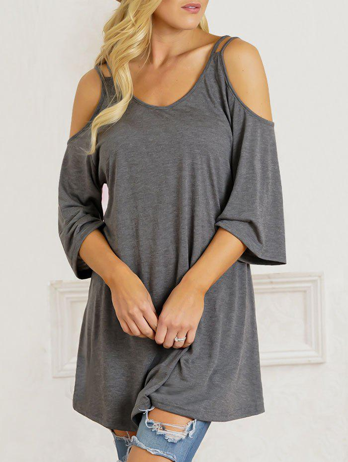 Open Shoulder Scoop Neck Tunic T-shirt - GRAY 2XL