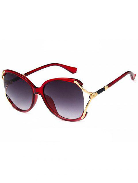 Hollow Out Oversized Sun Shades Sunglasses - RED